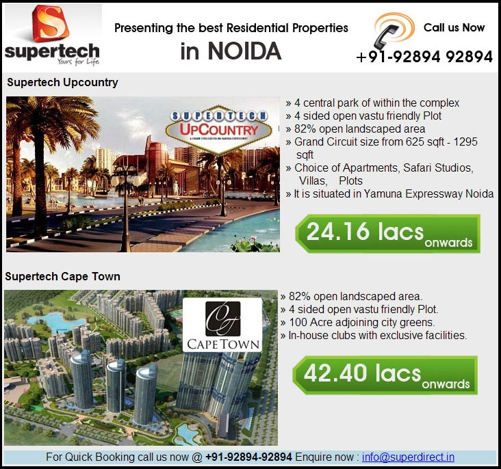 For quick Booking Supertech Noida Property & high Discount Call @+91-92894 92894