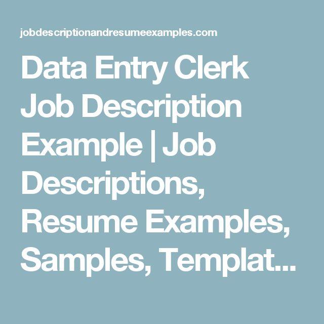 Best 25+ Data entry job description ideas on Pinterest Direct - medical record clerk job description