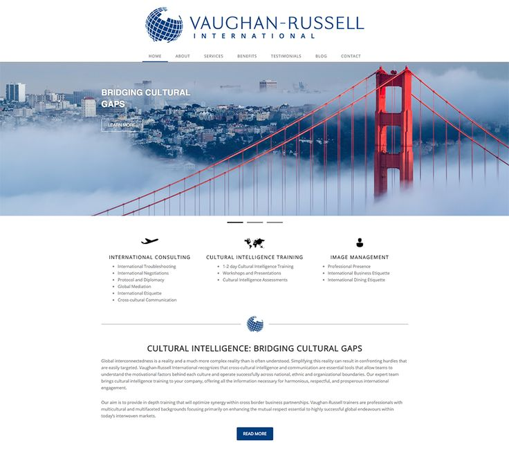 Vaughan Russell International website design by Macroblu.