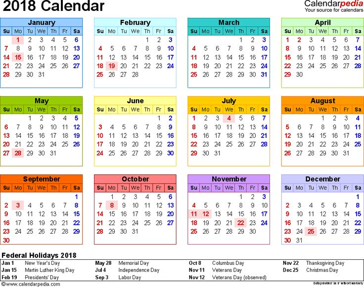 Template 8: 2018 Calendar for PDF, year at a glance, 1 page, in color, landscape orientation
