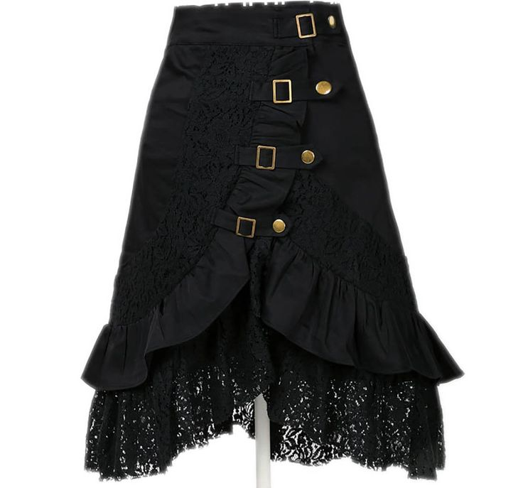 Women's Steampunk Gothic Clothing Vintage Cotton Lace Skirts Black Gypsy Hippie at Amazon Women's Clothing store: