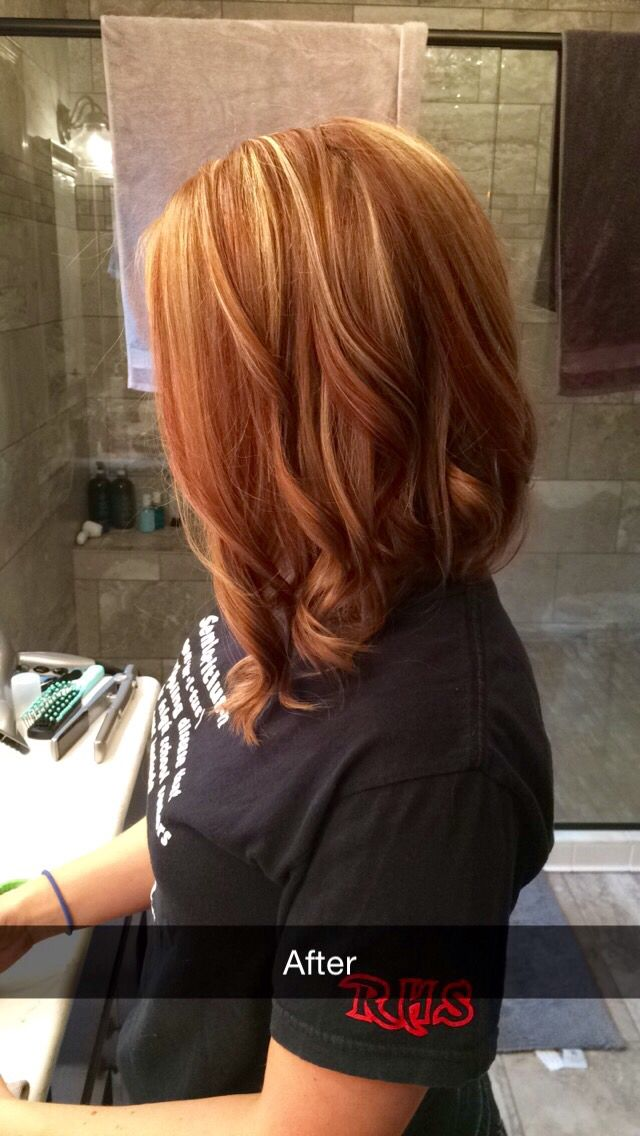 Lob  Blonde and red hair