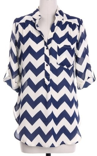Navy Chevron Blouse only $25!