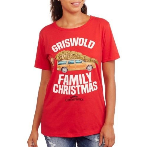 Christmas Vacation Junior Womens Griswold Family Vacation Holiday T-Shirt Tee S, Women's, Size: Small (3/5), Red