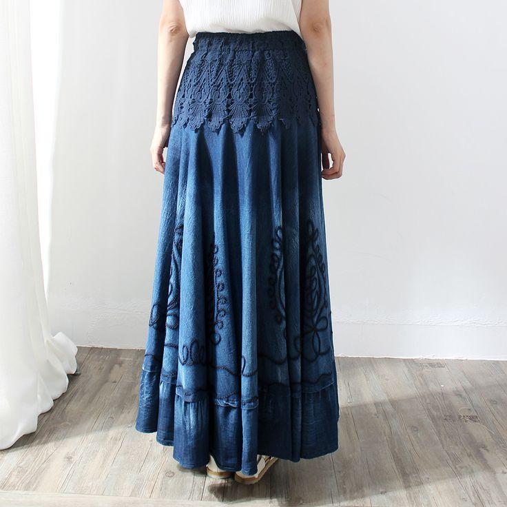 Makuluya summer autumn women's lace stitching Vintage Ethnic Embroidery Bohemian Spliced blue Denim long pleated Skirts female 0