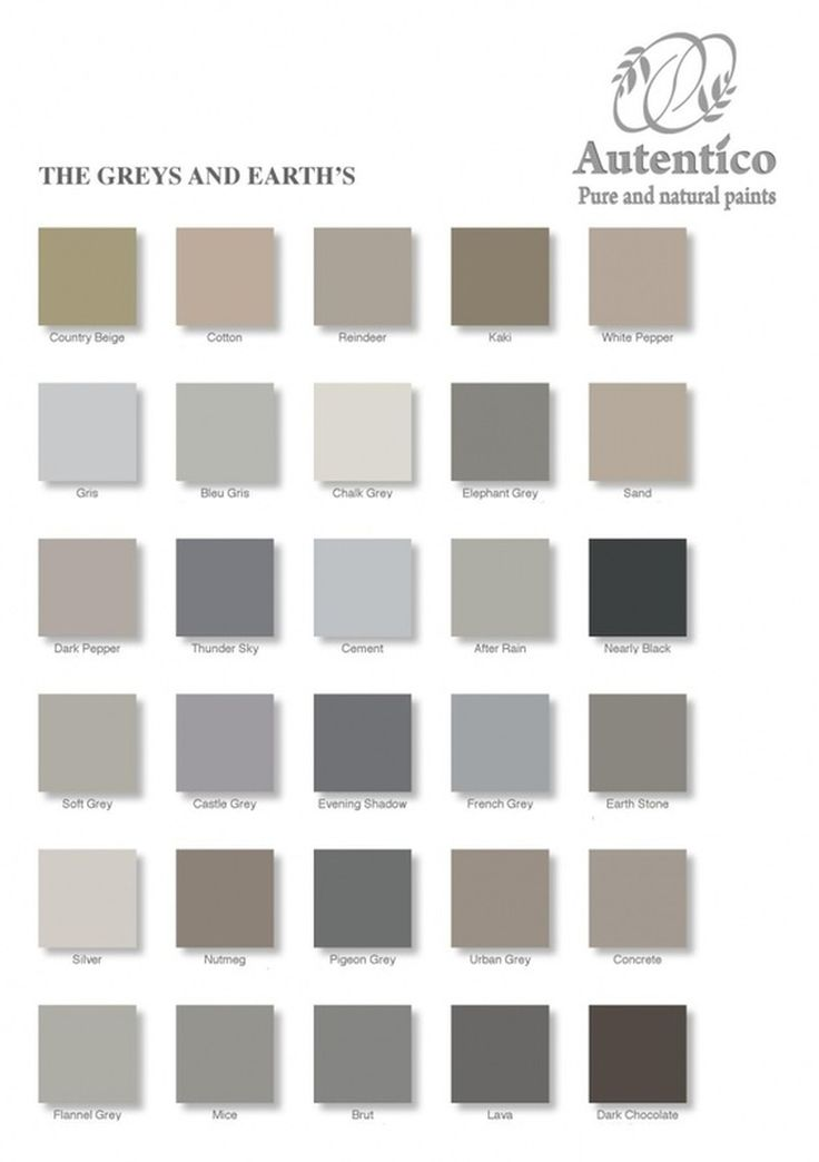 Greys and Earths Colour Chart from Autentico, get your chalk paint today for that perfect shabby chic painting experience :)
