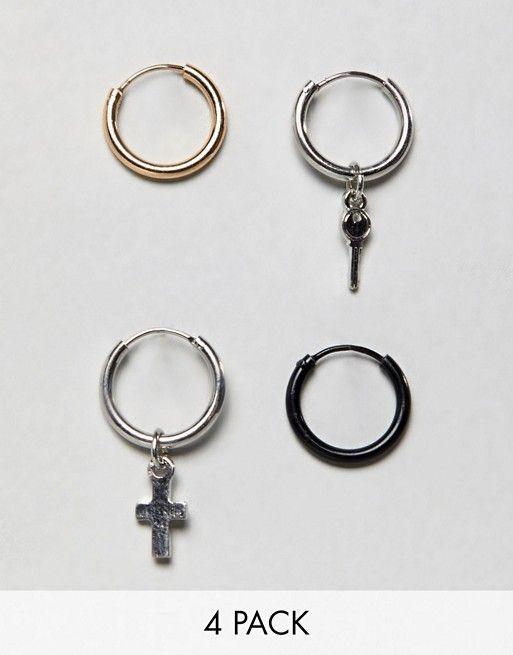 4bd0bcc4240e4 Bershka Hoop Earring 4-Pack In Silver | asos men | Hoop earrings ...