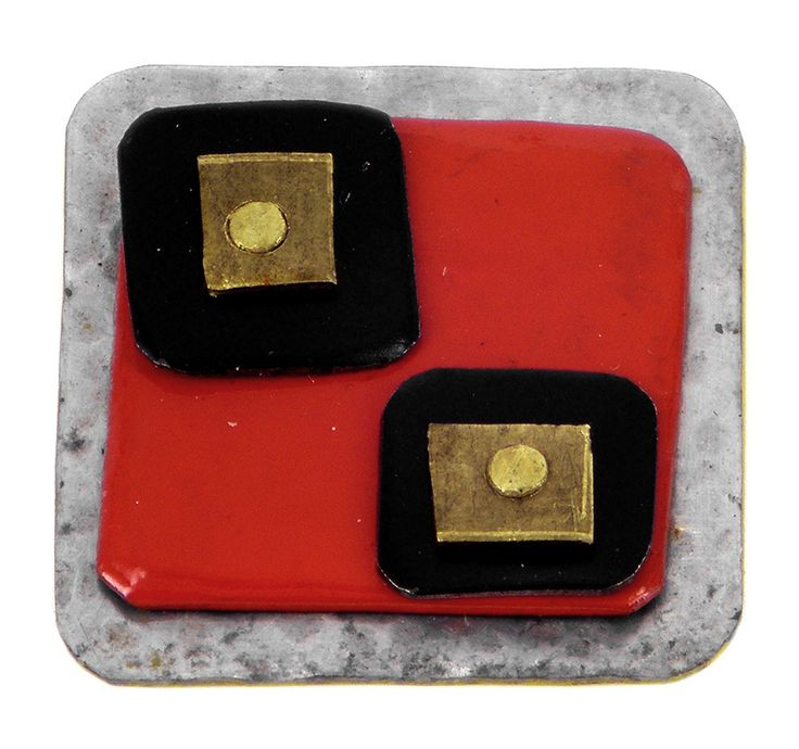 Red with squares tin lapel pin or brooch