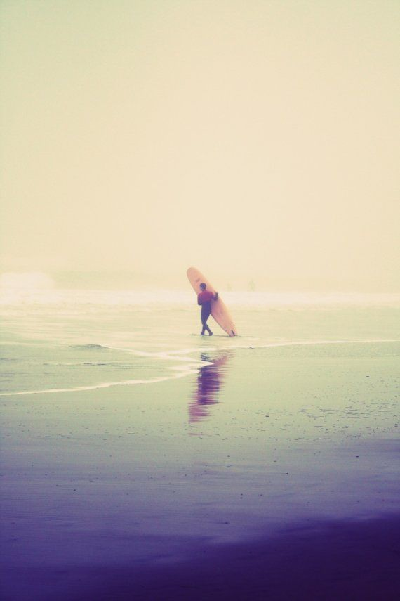Items similar to surfer foggy beach fine art vertical photograph 8x12 on Etsy