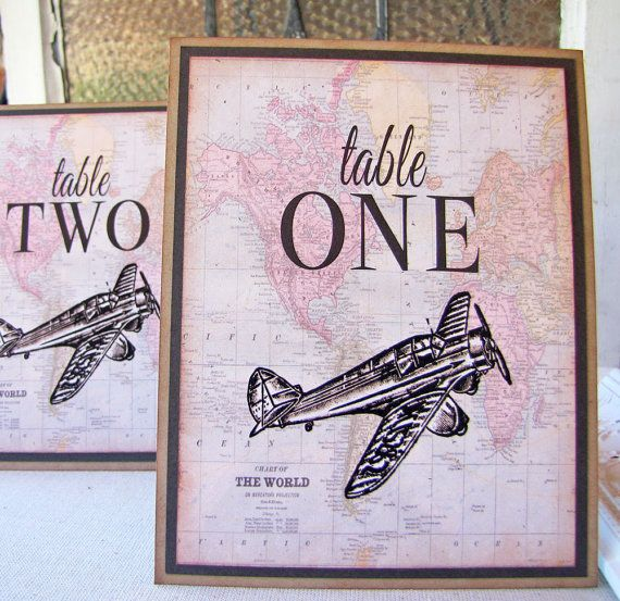 Vintage airplane Wedding Ideas | The plane on this lovely travel themed table number is just ...
