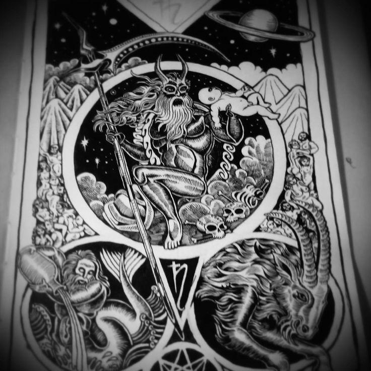 Vasco bz  this is a work in progress on my moleskine sketchbook. saturn is my favorite ancient god.   #saturn #mythology #god #illustration #moleskine
