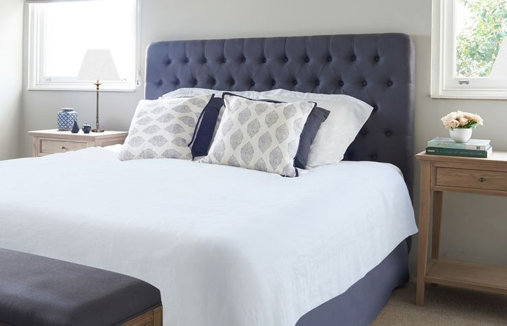 Charcoal Buttoned Bedhead from www.lavenderhillinteriors.com.au