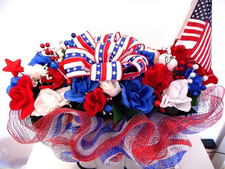 Patriotic Cemetery Flower Arrangement Headstone Saddle Flowers With Deco Mesh Red White Blue