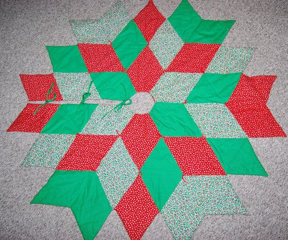 Vintage Christmas Tree Skirt Quilted Starburst by ChristmasVintage