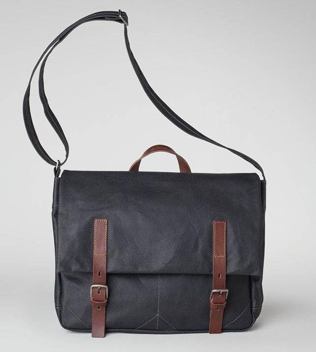 Waxed canvas satchel in black   Ally Capellino   Ally Capellino