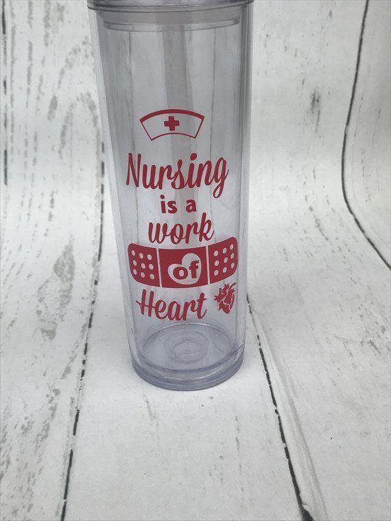 dc53b77c594 Nursing Is A Work Of Heart Water Bottle - Personalized Water Bottle - Nurse  Water Bottle - Nursing Is A Work of Heart Tumbler - Nurse gift