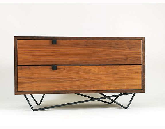 "André Joyau - Vita 2 door media cabinet  The company is based in Brooklyn, New York.  Material: walnut, black steel Finish: natural, dark brown, ebonized Dimensions: 46"" W x 20"" D x 26"" H (customizable)"