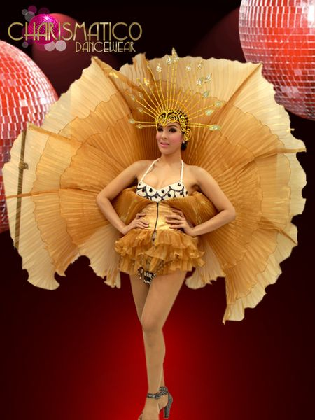 Charismatico Shimmery Pleated Golden Organza Drag Queen S