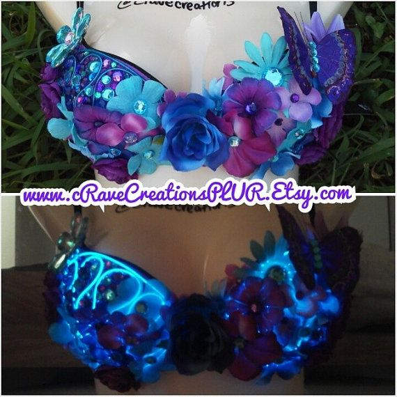 Purple and Turquoise Flower Bra with by cRaveCreationsPLUR on Etsy