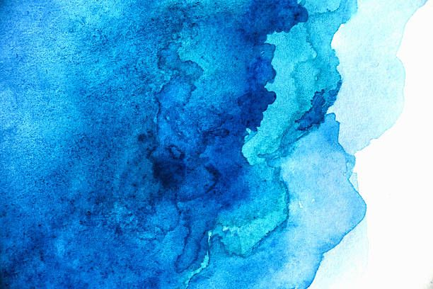 Blank Abstract Light Blue Watercolor Background Stock Photo