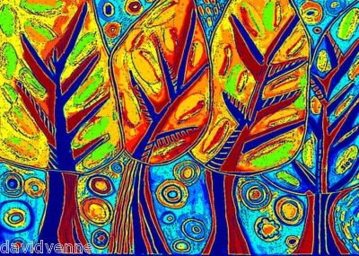 S. Silberzweig: Neon Trees, Blue Flowers, Art Lessons, Camps Trees, Art Architecture Design, Oil Pastels, Art Trees, Pastel Watercolor, 2Nd Grade
