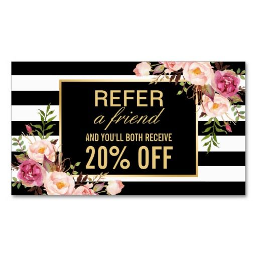 Referral Card Vintage Gold Floral Beauty Salon Standard Business Card