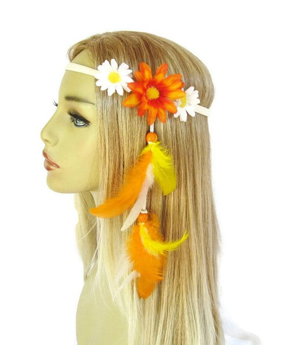 Daisy headband edc festival daisies feather extension yellow white orange Summer fashion women hair accessories on Etsy, $22.00