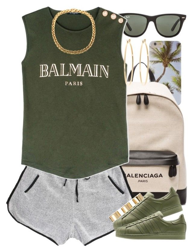 """""""Last days of Summer.."""" by livelifefreelyy ❤ liked on Polyvore featuring Balenciaga, Ray-Ban, Balmain, adidas Originals, ASOS and Brooks Brothers"""