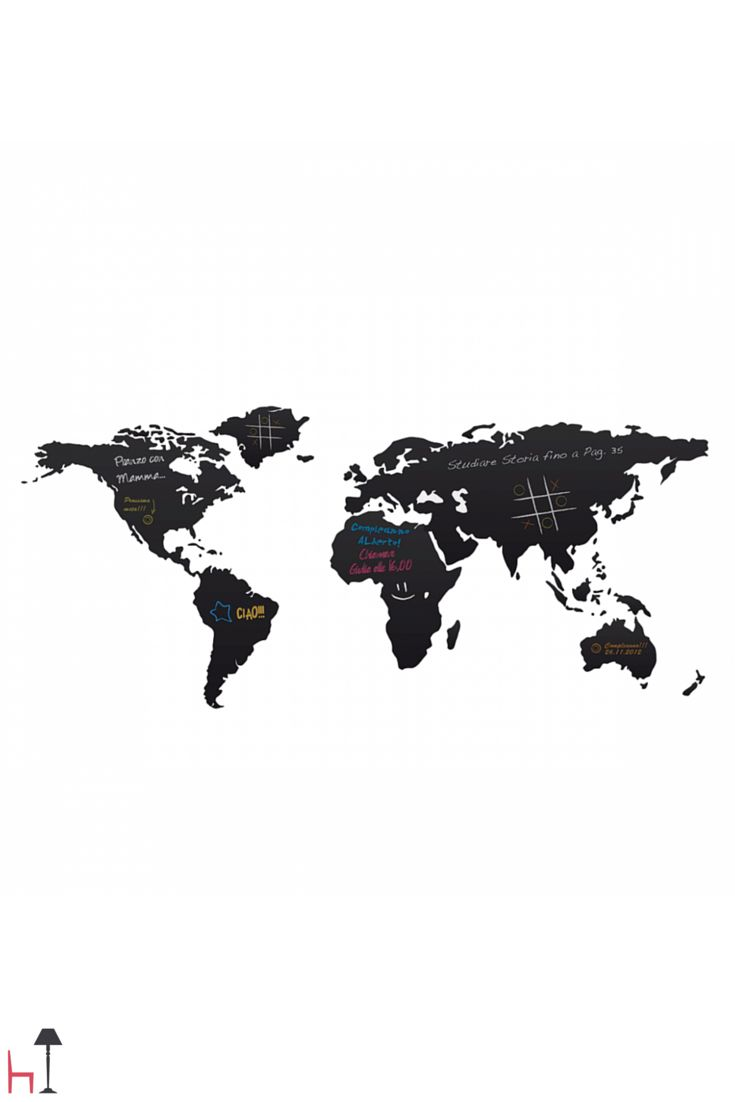 World is a vinyl board that represents a geographical map where you can write with a chalk and cancel.