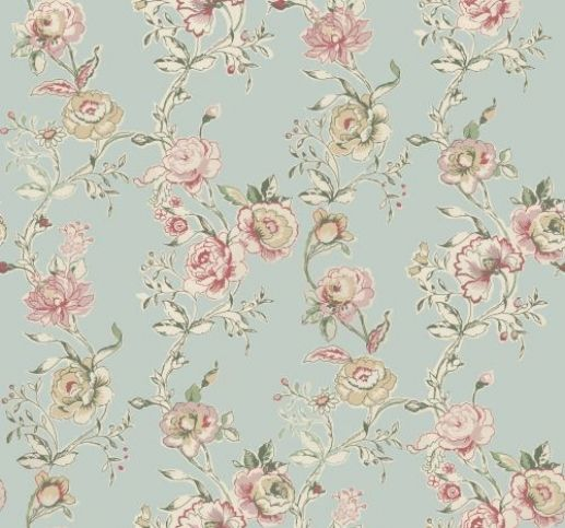Clarisse (W0026/02) - Clarke & Clarke Wallpapers - A beautiful fresh multi coloured floral trail perfect for the cottage style. Shown here with pinks and creams on duck egg blue green. Wide width. Please request sample for true colour match.