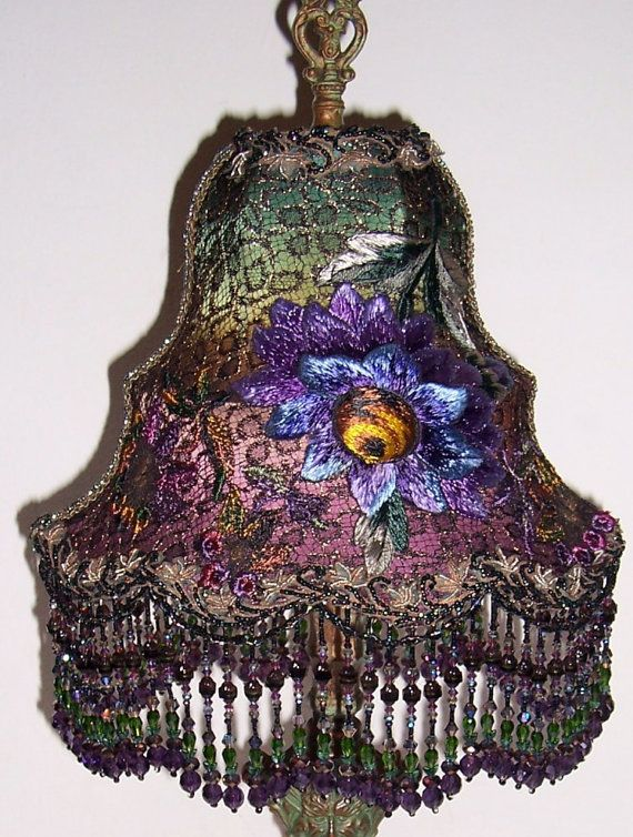 60 best images about beaded lamp shades on pinterest for Purple beaded lamp shade