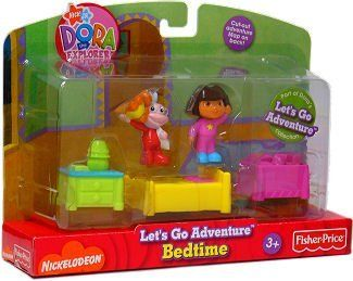 """Dora Let's Go Adventure Bedtime by Fisher Price. $14.24. Dora Let's Go Adventure Playsets encourage your child's creativity by re-creating scenes from the TV cartoon. A fun take along playset with Dora and Tico figures. Ages 3+. Playset includes Dora and Tico figures, bed, nightstand and table. Let your child revisit Dora the Explorer TV Episodes with Dora's Bedtime set in the """"Let's Go Adventure"""" collection. Easily portable Dora the Explorer playset includes all Dora ..."""