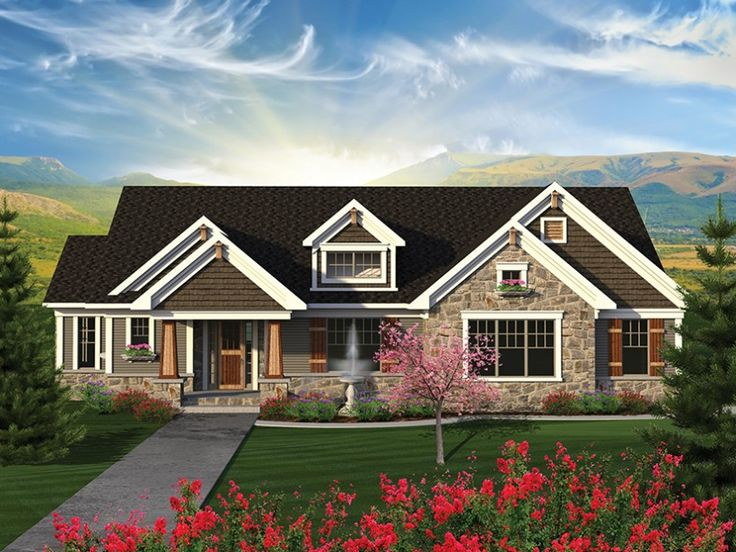 17 best ideas about one story homes on pinterest great for Craftsman stone