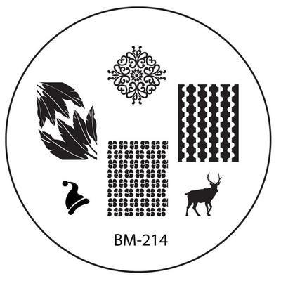 Series 2 Nail Stamping Plate BM214 - Santas Hat Reindeer + Feathers