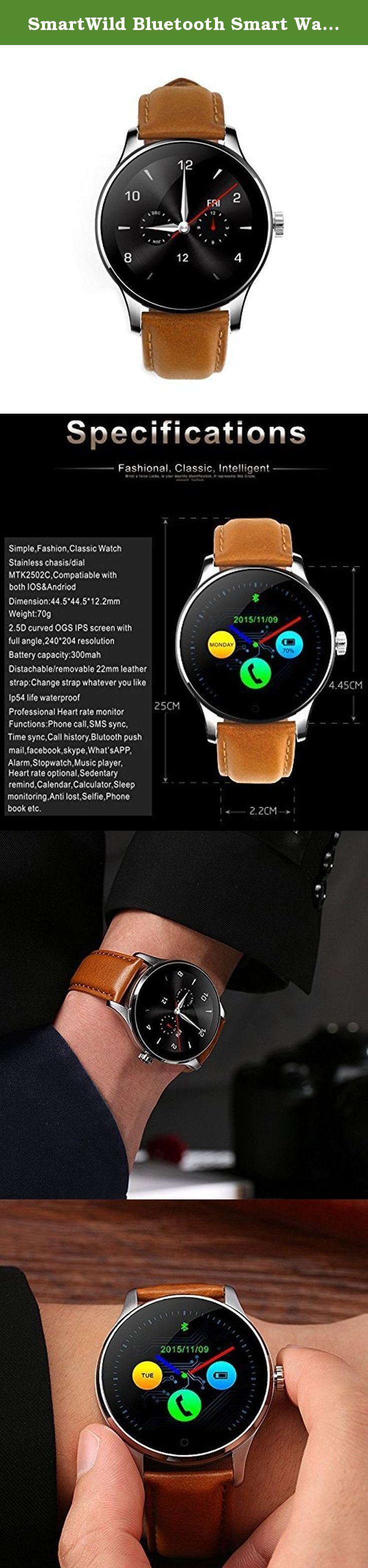 SmartWild Bluetooth Smart Watches K88H Classic Health Metal Smart Watch Heart Rate Monitor for Android ISO Phone Remote Camera Clock Pedomter Watch Phone. SmartWild K88H Smart Watch Wristwatch Health Metal with Remote Camera Clock Bluetooth Pedometer Heart Rate for Android and ios Phone Hot Point: Using MTK developed the first low-power chip Garments 2502C platform, compatible with Apple and Android Smartphone Professional level static + heart rate monitor, Control your health at any time...