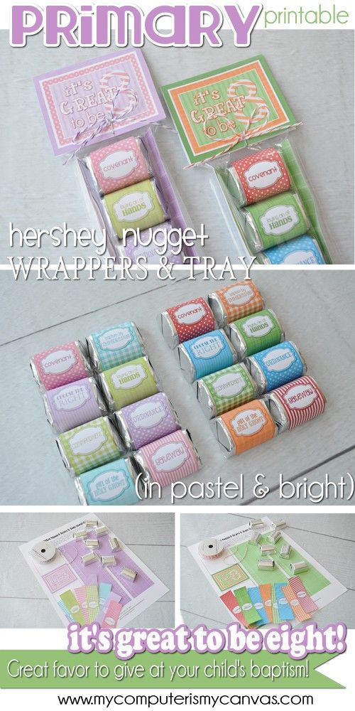 LDS Primary and Baptism themed printable Nugget Wrappers for Hershey Nuggets or miniatures - Perfect handout, gift or favor for Great to be 8 Meeting #mycomputerismycanvas
