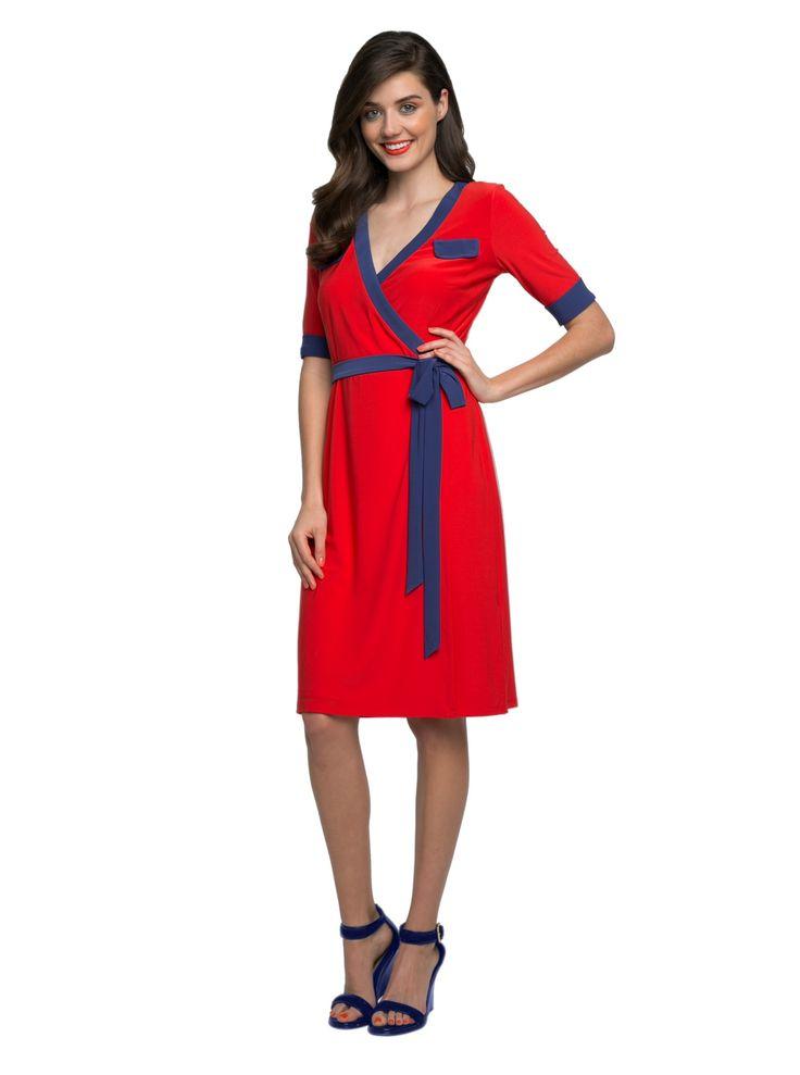 Leona Edmiston Asher wrap dress in red with purple trim.