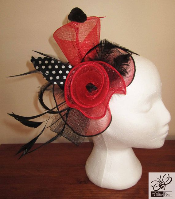 Red fascinator with black and white polka dot feather by WhiteBea