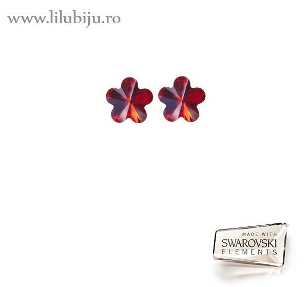 Cercei Swarovski Elements™ - Flori Rosu Siam by LiluBiju (copyright) http://www.lilubiju.ro/ocart/index.php?route=product/product&product_id=456