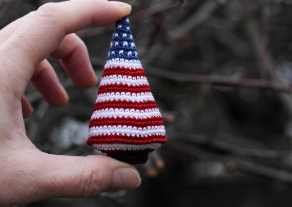 USA patriotic flag Christmas tree crocheted toy by FancyKnittles