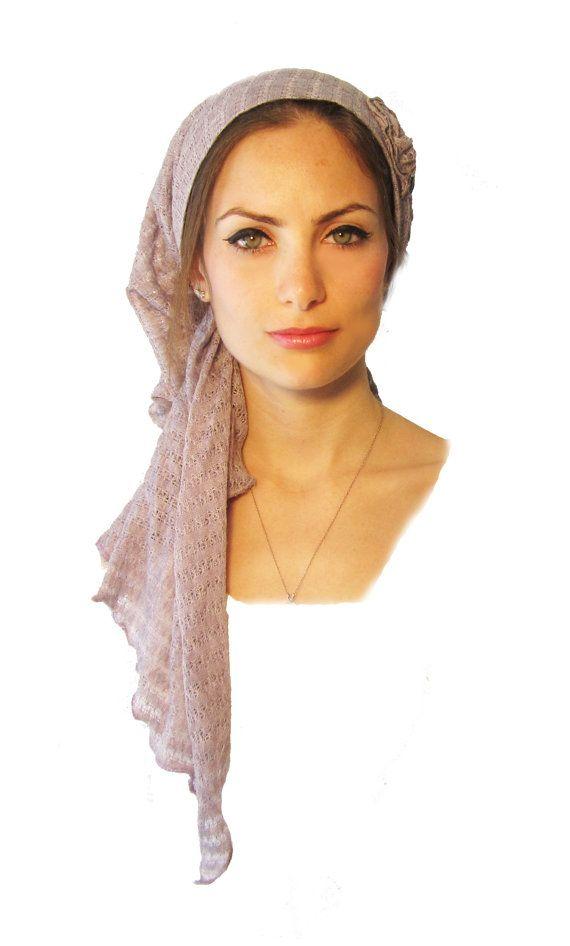 Tichel, Hair Snood, Head Scarf, Pre Tied Bandana Alternative: Purple Lavender Knit Flower Long. . . see many more styles in shop on Etsy, $28.99