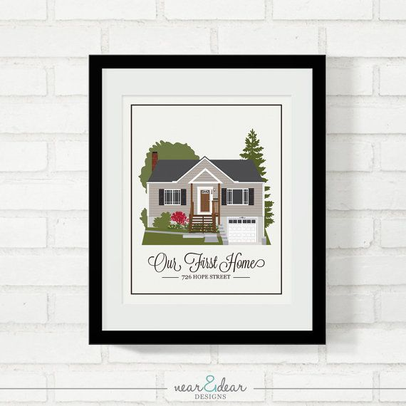 Home Portrait Personalized House Illustration Gift for New Homeowners Gift for Mom Grandma's House First Home Closing Gift - 8x10 Art Print