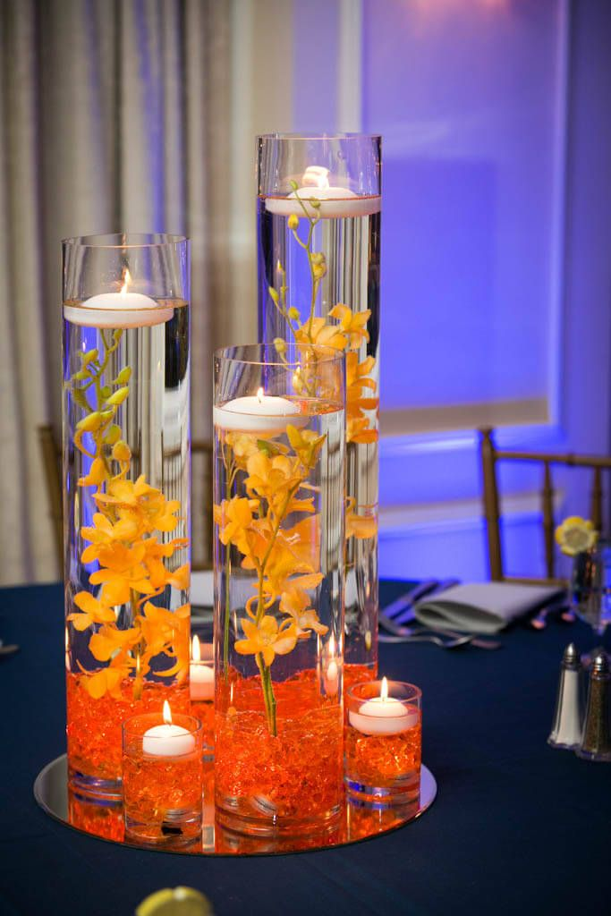 Orange LED Orchid Centerpiece Orange LED Orchid Centerpiece for Club Themed Bar Mitzvah