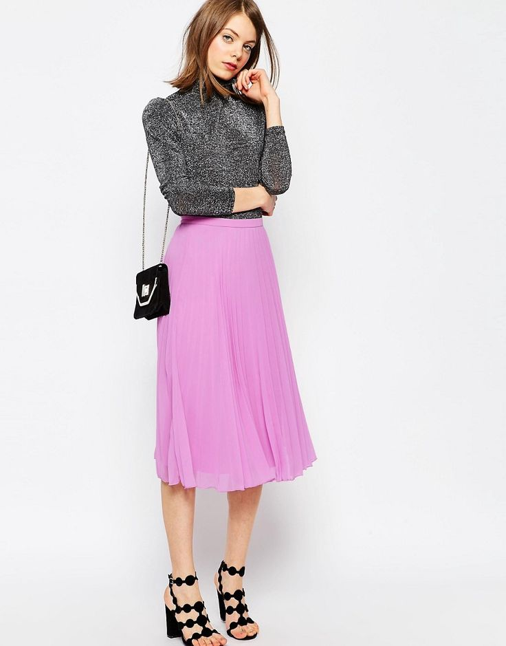 Pleated skirt in orchid <3 Image 1 of ASOS Pleated Midi Skirt