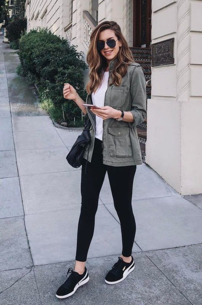 Military Jacket And Tights With Sneakers Concert Outfit Idea Casualwinteroutfit How To Wear Leggings Outfits With Leggings Fashion