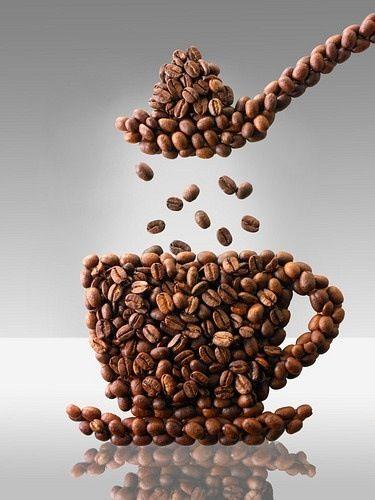 Arte con granos de café.                                                                                                                                                                                 Más