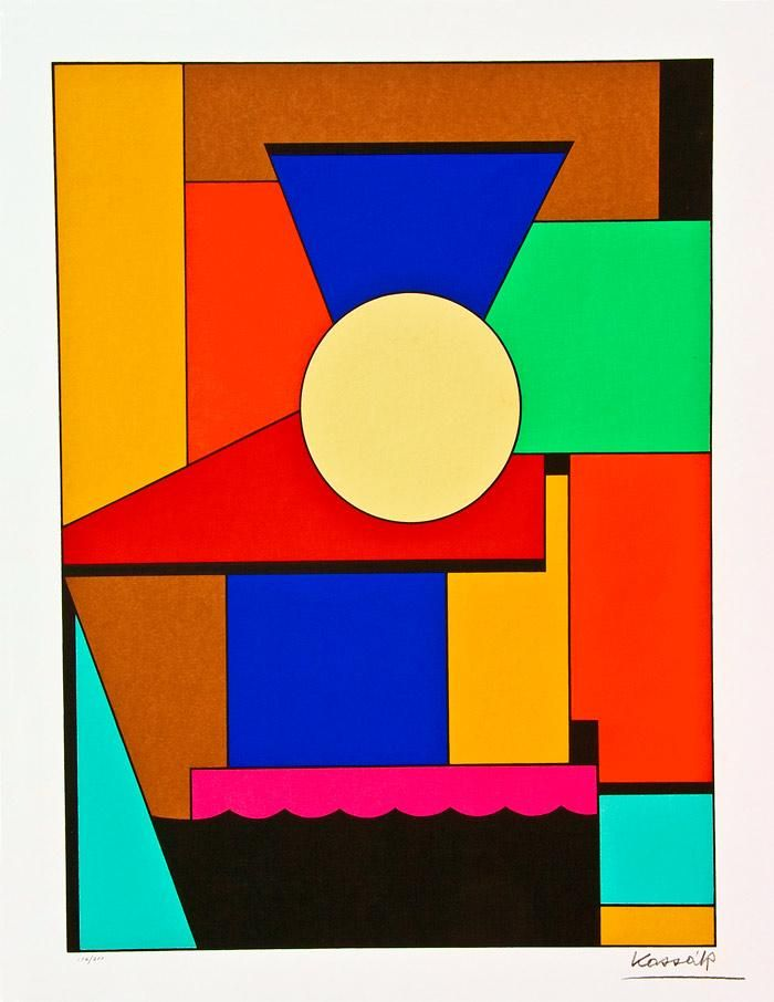 Design/Art 1920s-1940s. Lajos Kassák (1887-1967) was a Hungarian writer, painter, theorist, collagist, designer, printmaker and draughtsman.  He experimented with plastic forms in the spirit of the De Stijl movement, his use of geometric blocks being similar to that of Georges Vantongerloo.