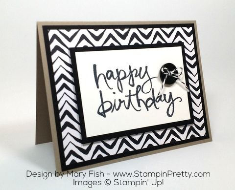 Stampin Up Masculine Birthday Card Idea Watercolor Words by Mary Fish