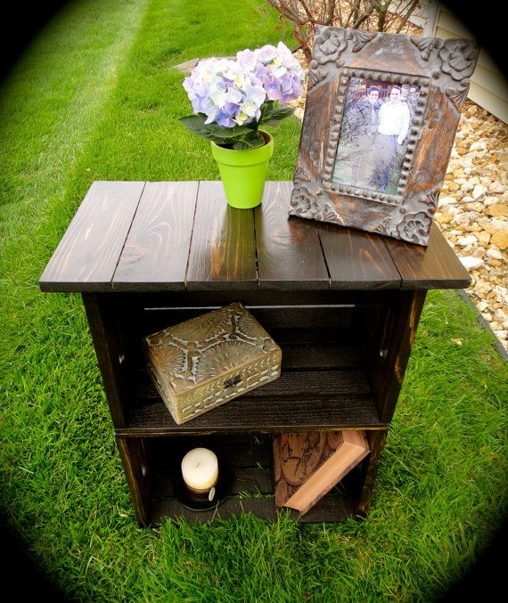I wanntttt   Custom Milk Crate Nightstand or End Table on Etsy, $135.00