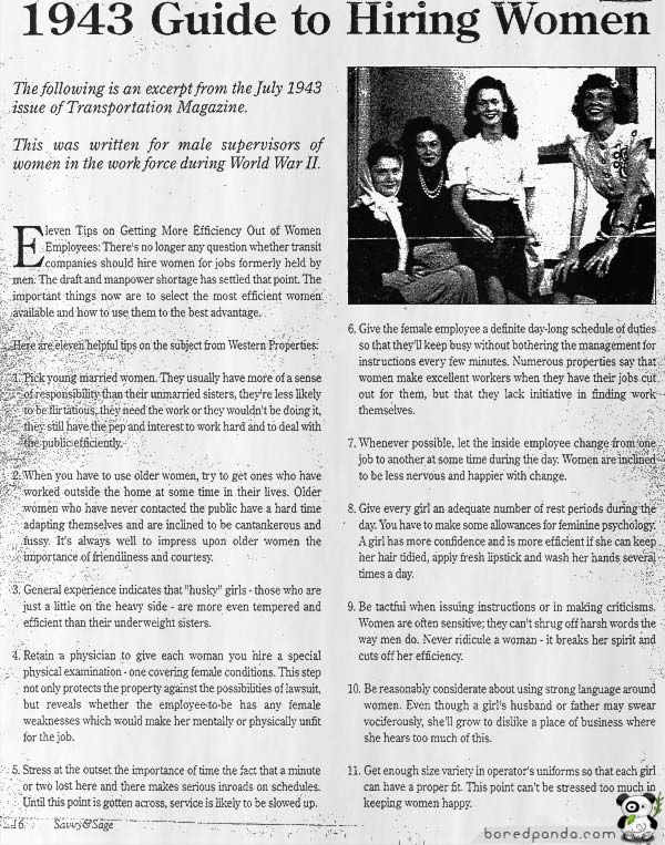 """""""Give every girl an adequate number of rest periods during the day. You have to make some allowances for feminine psychology."""" Wow, this WWII guide for getting more 'efficiency' out of women employees is shocking."""